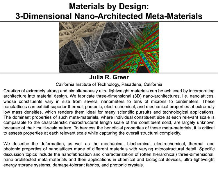 Plenary: Materials by Design: 3-Dimensional Nano-Architected Meta-Materials